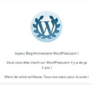 Yeah, this is the French for, You subscribed to WordPress 2 years ago. I started this in French. Oops.